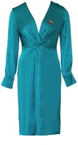 Anna Etter Midi Turquoise Satin Dress Sharrie With Flamingo Brooch