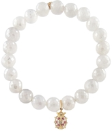 Sydney Evan Lady Bug Charm with Pearl Chalcedony Beaded Bracelet