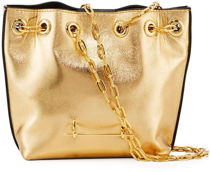 M2Malletier Mini Metallic Leather Bucket Bag