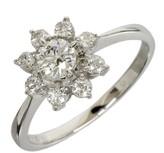 Mikimoto Platinum 0.46ct Diamonds Flower Motif Band Ring Size 5.5