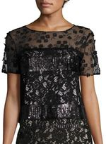 Elie Tahari Jules Embroidered Sequin & Lace Blouse