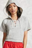 Forever 21 Boxy Lace-Up Hoodie