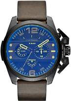Diesel Ironside Black Multi Dial Watch With Green Leather Strap