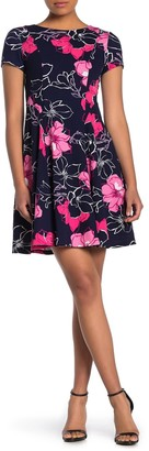 Eliza J Short Sleeve Floral Fit & Flare Dress