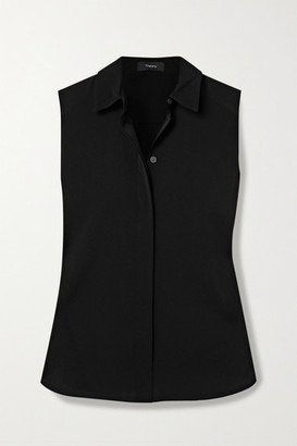 Theory Classic Stretch-silk Shirt - Black