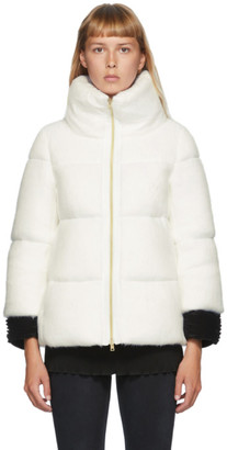 Herno White Down Woolfur Crop Sleeve Jacket
