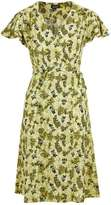 Petite ditsy floral wrap midi dress