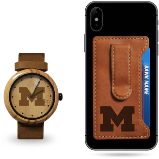 Sparo Michigan Wolverines Wood Watch and Phone Wallet Gift Set