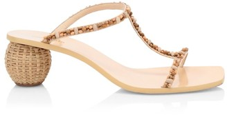 Cult Gaia Clio Bauble-Heel Embellished T-Strap Mules