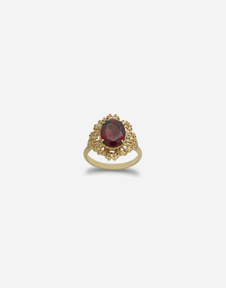 Dolce & Gabbana Barocco Ring In Yellow Gold And Rhodolite Garnet