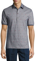 Etro Mixed-Dot Mé;lange Polo Shirt, Gray