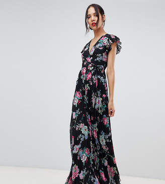 Asos DESIGN Tall pleated wrap maxi dress flutter sleeve in floral print