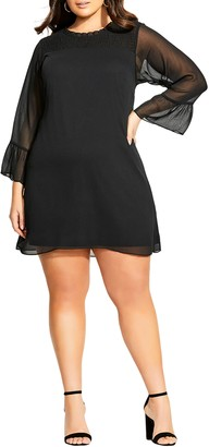 City Chic Softly Smocked Long Sleeve Shift Minidress