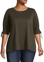 Boutique + + 3/4 Sleeve Round Neck T-Shirt-Womens Plus