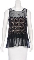 RED Valentino Sleeveless Lace-Accented Top