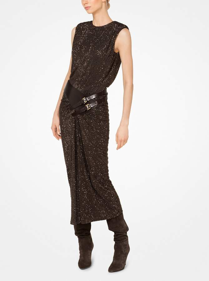 Michael Kors Crystal-Embroidered Ruched Crepe-Jersey Dress