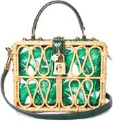 Dolce & Gabbana Dolce Box Banana leaf-print canvas and wicker bag