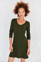 BDG Samual Cozy Henley Long-Sleeve Mini Dress