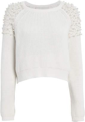 Mason by Michelle Mason Faux Pearl-Embellished Cotton Sweater