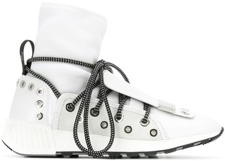 Sergio Rossi Lace-Up Sock Sneakers