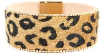 Riah Fashion Leopard-Faux Leather-Wrap-Bracelet