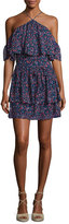 Paige Darya Floral-Print Silk Mini Dress, Indigo