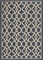 Safavieh Courtyard Collection CY6071-268 Navy and Beige Indoor/Outdoor Area Rug, 6 Feet 7-Inch by 9 Feet 6-Inch