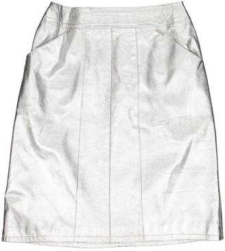 Chanel Silver Leather Skirts