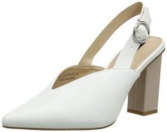 Lost Ink Women's Slingback Closed Toe Heels, (White 0006), 8 (41 EU)