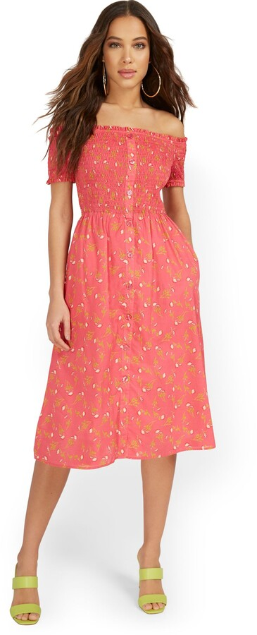 Thumbnail for your product : New York & Co. Floral-Print Smocked Off-The-Shoulder Midi Dress |