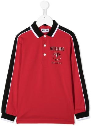 MOSCHINO BAMBINO TEEN panelled polo shirt