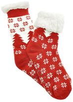 Angelina Red Snowflake Fleece-Lined Slipper Socks