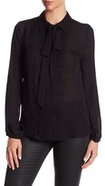 Thomas Wylde Collared Long Sleeve Front Tie Silk Blouse