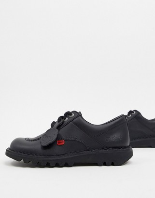 Kickers Kick Lo flat leather shoes in black