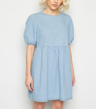 New Look Petite Denim Puff Sleeve Smock Dress