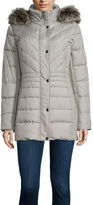 Liz Claiborne Side Panel Puffer Jacket with Fur Hood - Tall