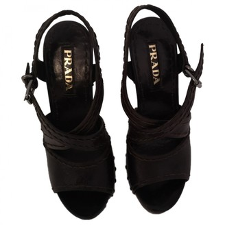 Prada Brown Leather Sandals