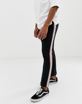 Weekday Lund tailored trousers in black with side stripe