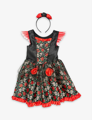 Dress Up Rose floral-print Day of the Dead dressing-up costume 5-6 years