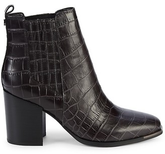 Marc Fisher Taline Croc-Embossed Leather Booties