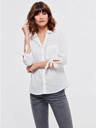 M&Co Spirit textured tie sleeve shirt