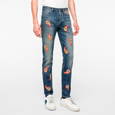 Paul Smith Men's Vintage-Wash Embroidered Paisley Jeans