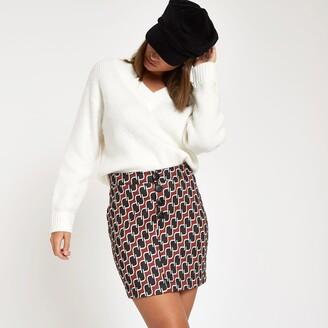 River Island Womens Brown geo print mini skirt