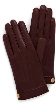 Mulberry Soft Nappa Leather Gloves Burgundy Nappa Leather