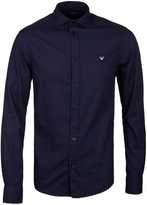 Armani Jeans Navy Custom Fit Textured Cotton Shirt