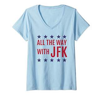 JFK Womens President John F Kennedy Democrat Campaign V-Neck T-Shirt