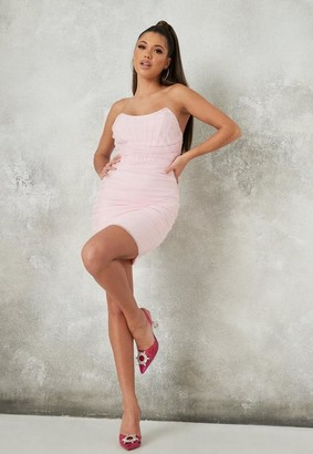 Missguided Pink Mesh Organza Bandeau Bandage Mini Dress