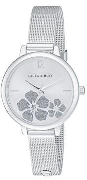 Laura Ashley Women's Sunray Floral Stone Dial Silver Tone Alloy Bracelet Watch 34mm