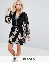Glamorous Petite Wrap Front Dress In Bird Print With Frill Detail