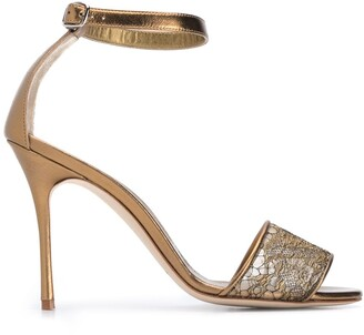 Manolo Blahnik Metallic Floral Lace Panel Sandals